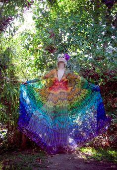 rainbow butterfly wing dress