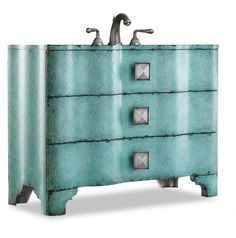 This would be beautiful in a beach house! Love the color! Chambers Sink Chest #vanity from Home Living Style: http://shrsl.com/?~6uo4