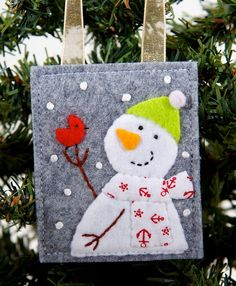 Little Red Bird and Snowman Wool and Felt Handmade Christmas Ornament, Christmas Tree Decoration, Advent Calendar Gift, Present Decoration