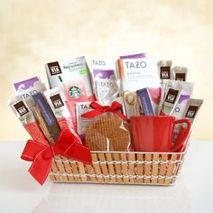 Tea and Lemonade For your friend, family member or colleague who needs a break, we've created a special gift basket that is designed to r. Mother's Day Gift Baskets, Gourmet Gift Baskets, Starbucks Strawberry Lemonade, Starbucks Gift Baskets, Tazo Passion Tea, Green Coffee Extract, Wafer Cookies, Perfect Mother's Day Gift, Memorable Gifts