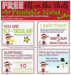 FREE Elf on the Shelf Notes plus Daily Elf on the Shelf Ideas all November and December