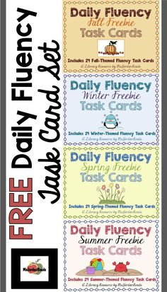 FREE Daily Fluency Task Card Set -- 24 seasonal task cards in each set to reinforce the different components of FLUENCY throughout the year ( Reading Task Cards, Reading Fluency, Reading Intervention, Teaching Reading, Teaching Ideas, Guided Reading, Free Reading, Close Reading, Teaching Tools