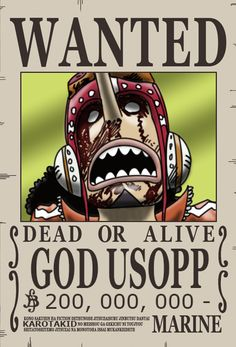 Usopp Dressrosa Wanted Poster / 200.000.000 Berry by KarotaKid on DeviantArt