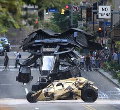 Batman's new flying vehicle ('The Bat') and The Tumbler