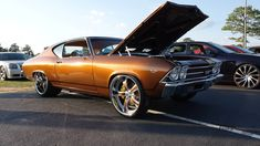 69 chevelle #BecauseSS gold super deep lip wheels tucked