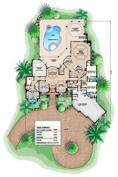 First Floor Plan of Florida   Mediterranean   House Plan 60415