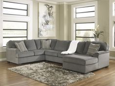 1270017 | Ashley Loric - Smoke 3pc Right Arm Corner Chaise Sectional Smoke | Big Sandy Superstores |