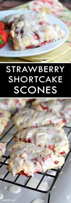 Strawberry Shortcake Scones - tender flaky scones with fresh strawberries throughout and a dreamy glaze!
