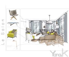 Home Decorating Magazines Free Interior Architecture Drawing, Interior Design Renderings, Drawing Interior, Interior Design Boards, Interior Rendering, Interior Sketch, Architecture Design, Planer Layout, Interior Design Presentation