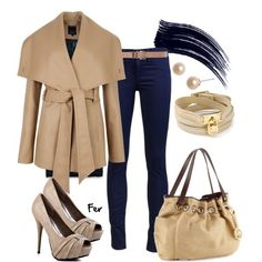 Cream Coat & Navy Leggings Outfit - Be Stylish