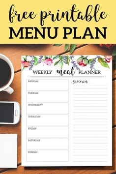 DIY Menu planning made easy. Plan and organize daily meals and shopping list. DIY Menu planning made easy. Plan and organize daily meals and shopping list. Menu Planning Printable, Meal Planner Template, Budget Meal Planning, Weekly Meal Planner, Printable Planner, Free Printables, Free Printable Menu Template, Schedule Templates, Menu Planning Templates