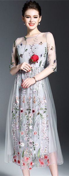 Grey Embroidered Tulle Midi Dress