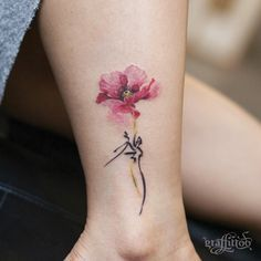 Watercolor poppy with calligraphy by Tattooist River