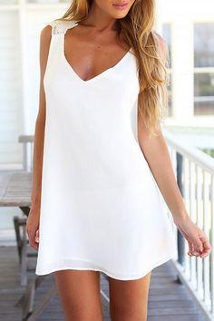 04e21c7893ec 2017 New Pattern Female Sex V Neck Back Crossing Lace Vintage White Dress  Summer Beach Vestido Sexy Party Dresses