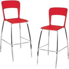 Lumisource Pair of Tone Bar Stools Red BS-TONE R2 from OneWayFurnit...
