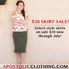 $20 skirt sale for limited time at Apostolic Clothing #modestclothing #clothingsale