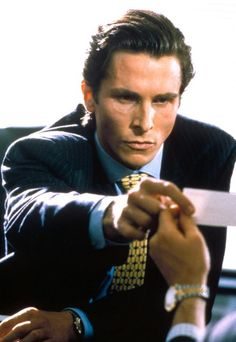 American Psycho.  [Thinking] Look at that subtle off-white coloring. The tasteful thickness of it. Oh, my God. It even has a watermark.