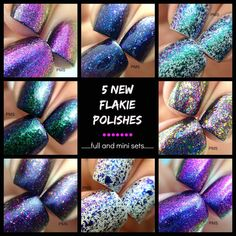 My next nail obsession!  Newest Full Set of 5 Flakie Polishes :  by PolishMeSilly on Etsy