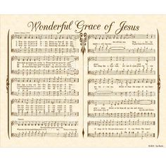 Wonderful Grace of Jesus 8x10 Antique Hymn Art Print Natural