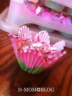 may day ideas | Easy May Day basket- Wilton tulip cupcake liners filled with candy ...