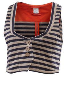 Sweatweste 'Yamina', dark-denim-gestreift - Westen - Deerberg - striped short waistcoat