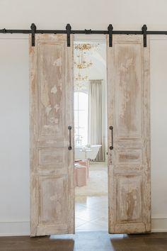 Antique Doors Antique Barn Door Antique doors, imported from France, were Inside Barn Doors, Double Barn Doors, Front Doors, Home Design, Interior Design, Design Ideas, Design Design, Sliding Door Design, Sliding Doors