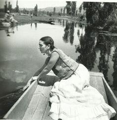 Frida boating at Xochimilco, Fritz Henle,  1936