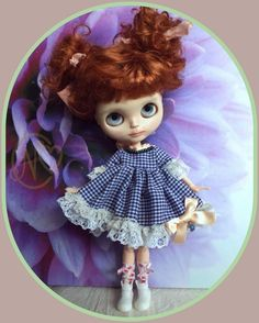 """Antique Victorian dress for 12"""" Blythe doll* with bow on back* checked*"""