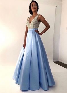 A-Line V-neck Sleeveless Blue Floor Length | sparkledress Blue Evening Dresses, Prom Dresses Blue, Formal Dresses, Long Dresses, Elegant Dresses For Women, Blue V, Fashion Dresses, Women's Fashion, Satin