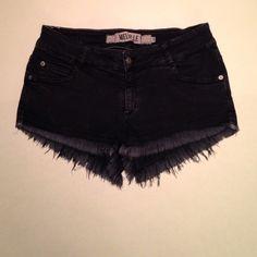 Brandy Melville denim shorts  Dark blue frayed denim shorts with botton closures, classic 5-pocket and belt loop. Brandy Melville Shorts Jean Shorts