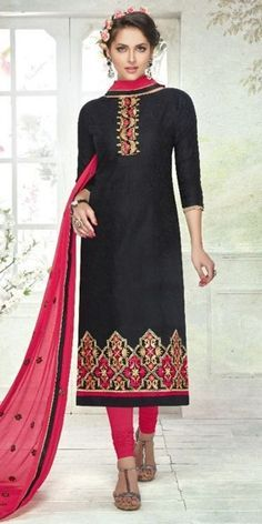 Royal Black Cotton Straight Suit With Dupatta.