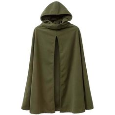 Mooncolour Women's Winter New Arrival Hooded Green Cloak Trench Coat... ❤ liked on Polyvore featuring outerwear, coats, green cloak, cloak coat, green hooded cloak, green hooded coat and green trench coats