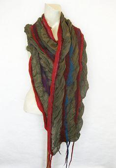 Felted Scarf Wool Silk Shawl Nuno Ruffled Textured от avivaschwarz