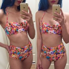 ASOS Floral Print High Waisted Bikini Floral 2-piece bikini from ASOS. Features a bustier bikini top with detachable halter straps and ruched high waisted bottoms. Top is 34B; bottoms are size 6. Love this but in the effort of losing weight for the summer, i also lost boobs so the top doesn't fit me very well :( Never had a chance to wear it out. Originally purchased for $70. New without tags. Like new condition - no damages. ASOS Swim Bikinis