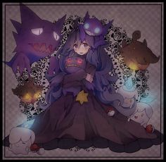 ahoge al bhed eyes banette big hair blue fire blush checkered checkered background crying dress female fire frame ghost hairband haunter hex maniac (pokemon) highres hug litwick long dress long hair looking at viewer messy hair nail polish ninten Ghost Type Pokemon, Pokemon One, Pokemon Fan Art, Pokemon Games, Cute Pokemon, Pokemon Stuff, Pokemon Team, Pokemon People, Haunter Pokemon