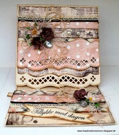 Lisas Kreative Univers Shabby Chic Cards, Easel Cards, Diy Cards, Birthday Cards, Christmas Cards, Decorative Boxes, Card Making, Fancy, Inspiration