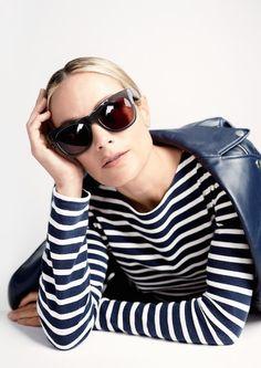 Le Fashion Blog JCrew Grey Oversized Sunglasses Lookbook Carolyn Murphy Striped Shirt Leather Jacket