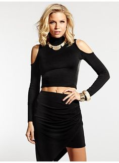 Long-Sleeve Cropped Cold Shoulder Top $20 (On sale)