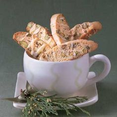 Lemon-Nut Biscotti Pistachio nuts add color, crunch, and richness to this cookie. Present them as a gift in a mug with a bag of coffee beans.