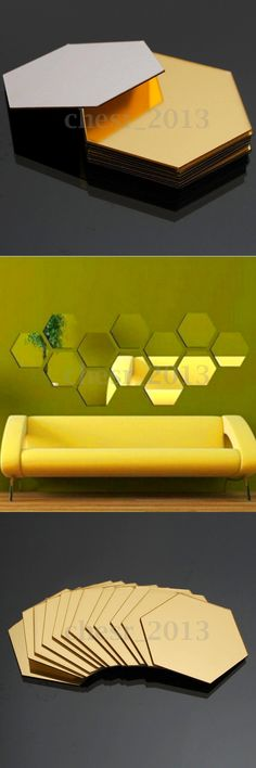 12PCS 3D Mirror Hexagon Vinyl Removable Wall Sticker Decal Home Decor Art DIY $6.85