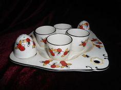 Burleigh-Ware-Art-Deco-Huevo-Huevo-Set-Egg-Cups-Sal-amp-Pepper-1930