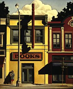 Painting by Kenton Nelson of what is, sadly, an endangered institution... the book store.