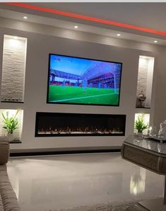 Fireplace Feature Wall, Feature Wall Living Room, Living Room Decor Fireplace, Fireplace Tv Wall, Living Room Wall Units, Living Room Decor Cozy, Modern Fireplace, Fireplace Design, Home Living Room