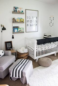 Nursery - black and white - book ledge shelves - boy nursery - neutral