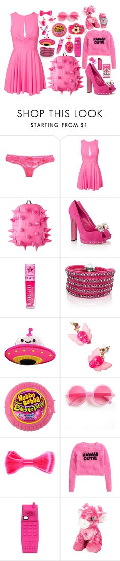 """Color Me Pretty: Head-to-Toe Pink 3"" by brahski ❤ liked on Polyvore featuring Aerie, Love, Alexander McQueen, Sif Jakobs Jewellery, Tarina Tarantino, River Island, LØMO, Dollhouse, H&M and Moschino"