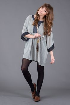 Sheer Paneled Tunic Top with Pockets