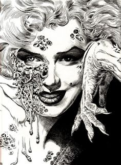 Zombie,Marilyn Monroe, Illustration, Drawing, Black and White- crosshatching