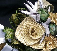 Natural green and silver flax wedding bouquet by FabulousFlax, $120.00
