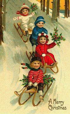 Kids sledding vintage Christmas card image