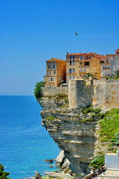 South Corsica, Houses at the edge of the cliff, France